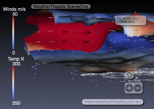 WeatherTheatre SceneOne 5-12-2013-12z, Europe, Vertical Northerly View