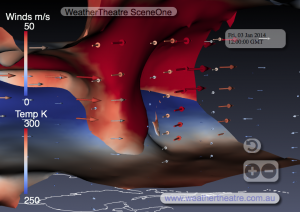 WeatherTheatre SceneOne 3-1-2014-12z, North America, Northeasterly Vertical View